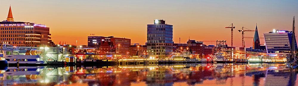 Skyline von Kiel in der Abendsonne